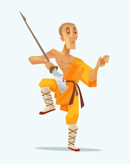 Monk shaolin warrior man character standing in pose with weapon, flat cartoon illustration