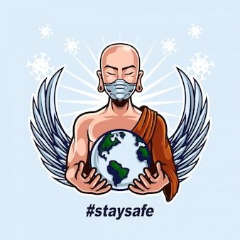 修道士の身に着けているマスクと人間の戦いをサポートするための世界