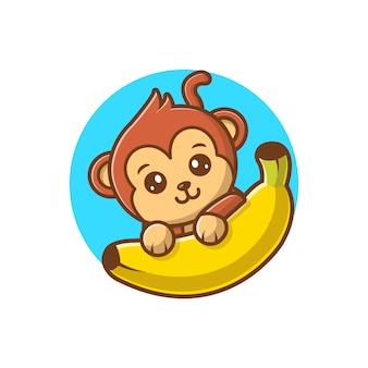 원숭이 바나나 벡터 일러스트. 귀여운 원숭이 만화