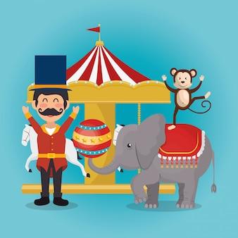 Обезьяна и слон на цирковом шоу