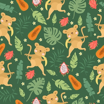 원숭이 과일 패턴