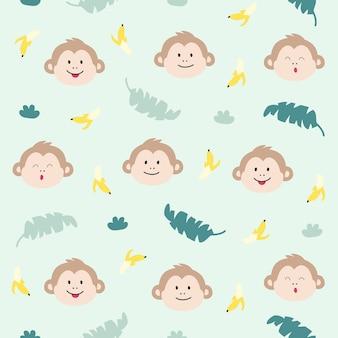 Monkey animal seamless pattern