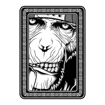 Monkey, ape, black and white hand drawing