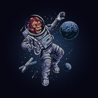 The monkey astronaut illustration vector