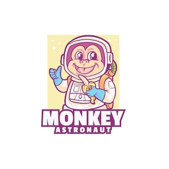 白で隔離される猿の宇宙飛行士のロゴ