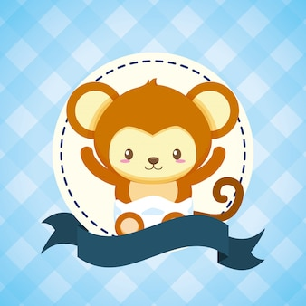 Monkey for baby shower card
