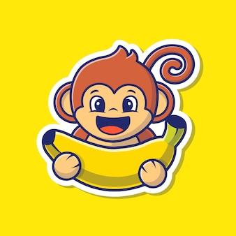 Monkey and banana vector sticker illustration.