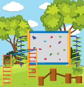 Monkey bar and climbing wall in the playground