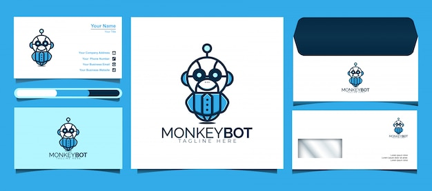 Monkey bot logo design   template. design logos, icons, envelope and business cards.