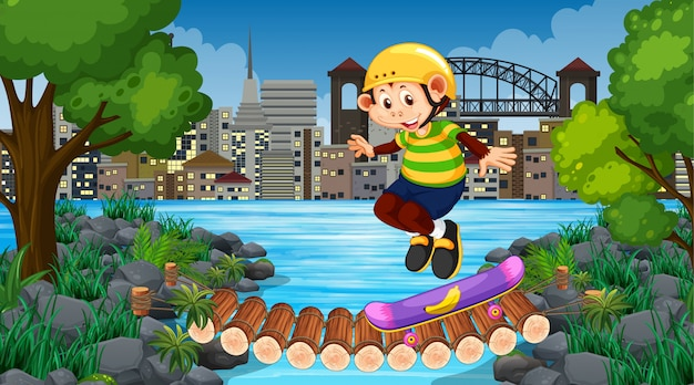 Monkey boy riding skatboard in city park