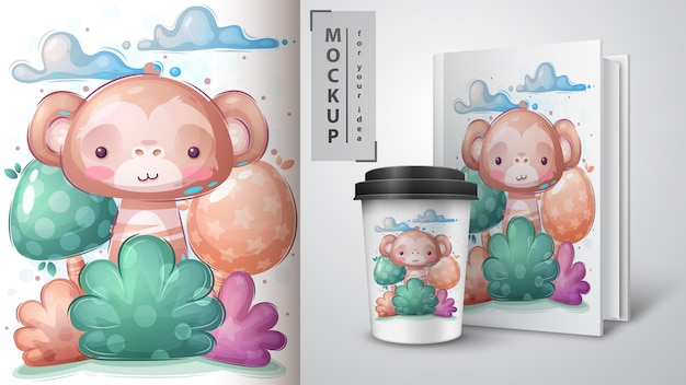 Monkey in bush poster and merchandising vector eps 10