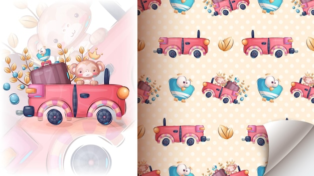 Monkey in the car  seamless pattern vector eps 10