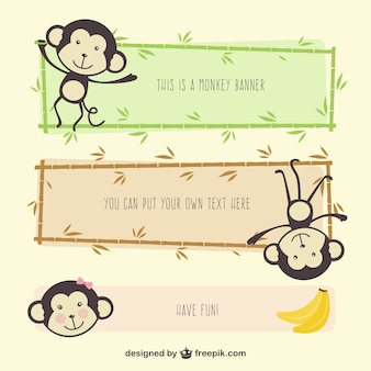 Monkey cartoon banners