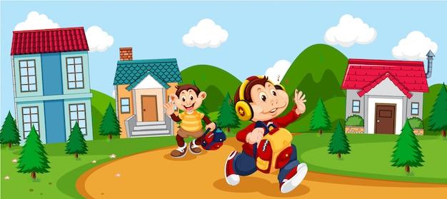 Monkey cartoon going to school