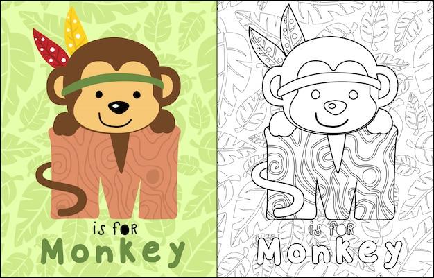 Monkey cartoon on leaves seamless pattern