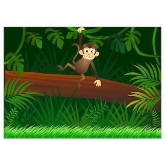 森の背景に猿の漫画