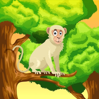 Monkey cartoon at the tree