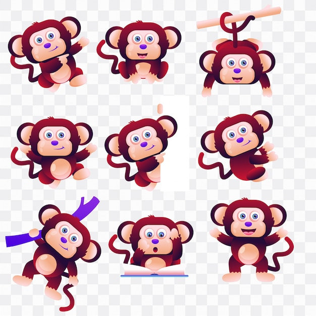 Monkey cartoon with different poses and expressions.