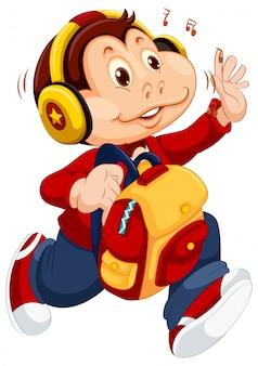 Monkey character going to school