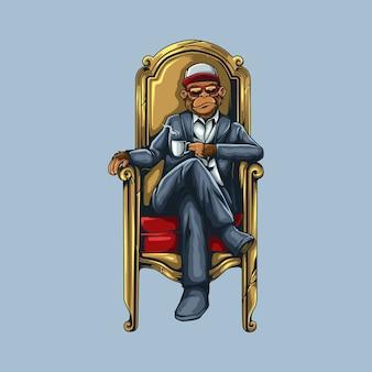 Обезьяна персонаж сидит на троне