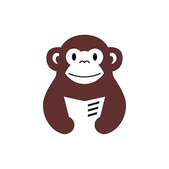Monkey chimp book read newspaper negative space logo vector icon illustration