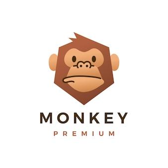 원숭이 침팬지 고릴라 플랫 로고