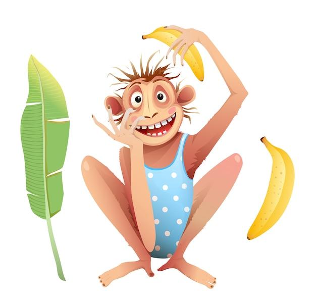 顔の表情を真似て狂ったように座っている猿のチンパンジー。ファンキーなチンパンジーの動物のマスコットは、子供のための漫画、白で隔離。