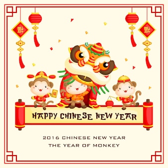 Monkey chinese new year greeting card