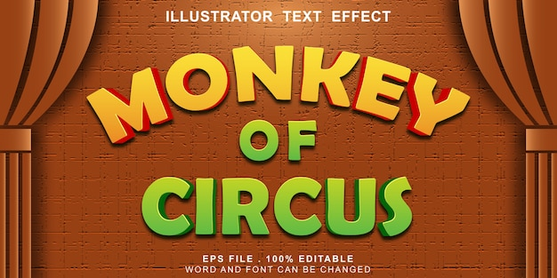 Monkey of circus text effect editable 3d