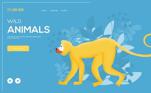 원숭이 개념 전단지, 웹 배너, ui 헤더, 사이트 입력. 그레인 텍스처 및 노이즈 효과.