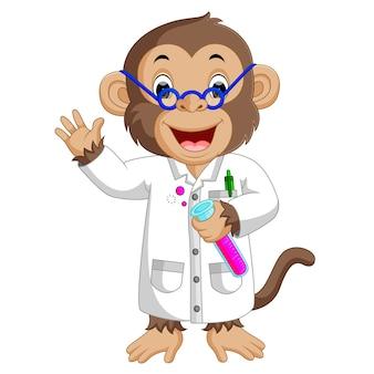 ラボ実験を行う猿