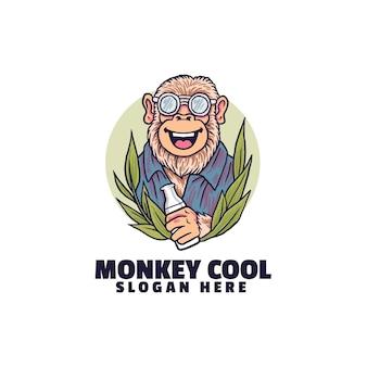 원숭이 멋진 로고 흰색 절연
