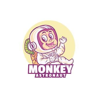 白で隔離される猿のかわいい宇宙飛行士のロゴ