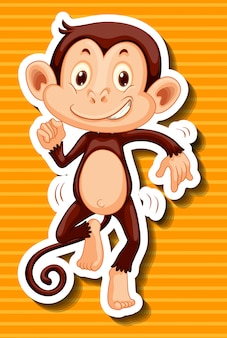 Monkey dancing on yellow background