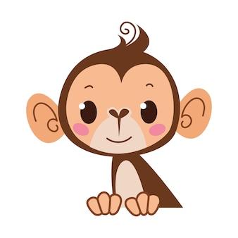 猿の絵文字アイコンとシンボルのベクトル図です。白い背景で隔離の幼稚なスタイル。子供部屋用に印刷します。赤ちゃん動物園のクリップアート