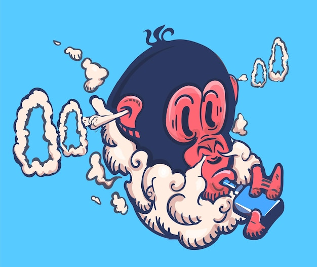 원숭이는 전자 vape 담배 그림에서 증기를 내뿜습니다.