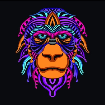 Monkey face from decorative neon color