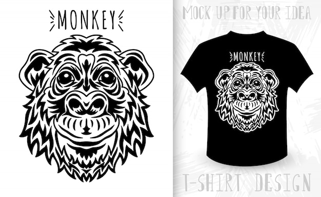 Monkey face. idea for t-shirt print in vintage monochrome style.