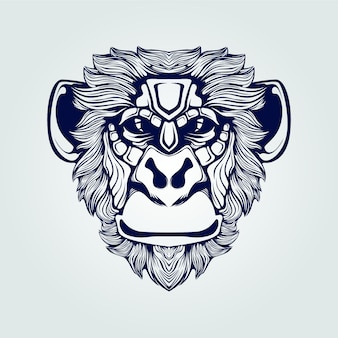 Monkey face line art in dark blue color
