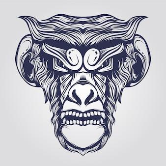 Monkey faceline art