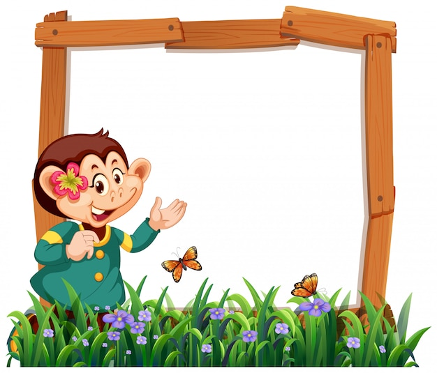 Monkey frame in nature with grass and butterflies