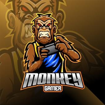 Обезьяна геймер талисман дизайн логотипа
