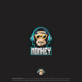 Monkey gaming logo vector
