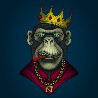 Monkey gangster illustration