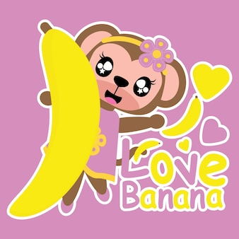 Monkey girl loves banana vector cartoon background