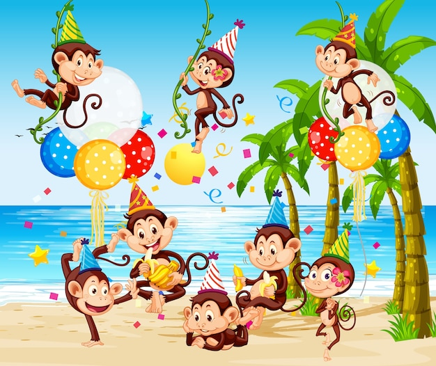 Monkey group in party theme cartoon character on beach background