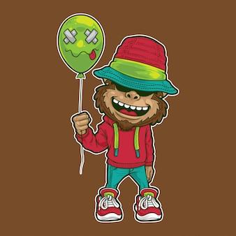 Monkey happy with balloon