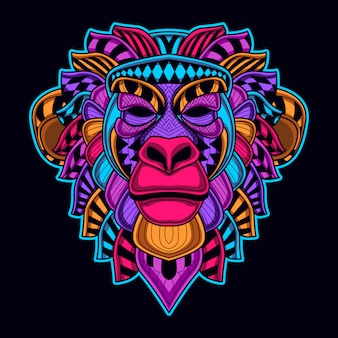 Monkey head art in neon color glow in the dark