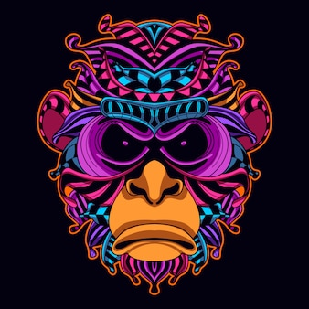 Monkey head art in neon color style