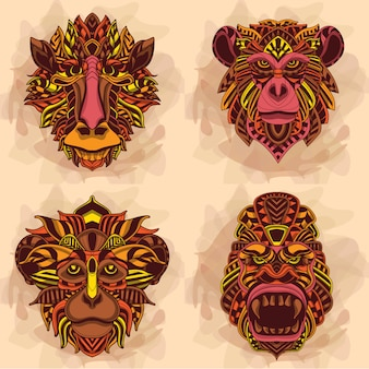 Monkey head collection in warm color